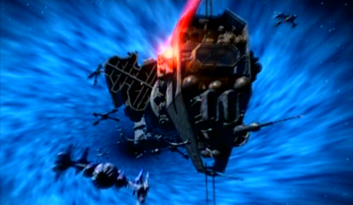 An Earth Forces ship with rotating section to create gravity.