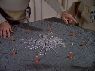 """Scale model of Moonbase Alpha highlighting its Anti-Gravity Towers in the episode """"Black Sun""""."""