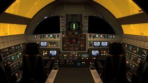 The cockpit of an Eagle Transporter.