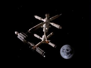 The Meta Probe at the orbital space dock in the premiere episode of Space: 1999.