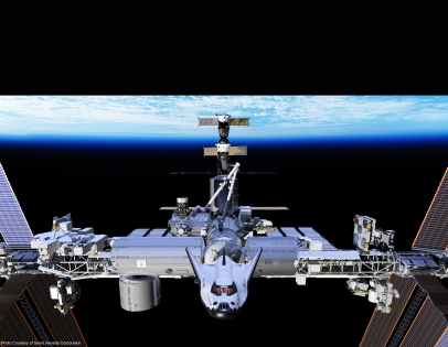 The Dream Chaser waiting to launch from the International Space Station.