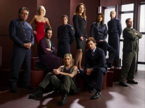 "BATTLESTAR GALACTICA -- Pictured: (l-r) Edward James Olmos as William Adama, Tricia Helfer as Number Six, James Callis as Gaius Baltar, Tahmoh Penikett as Karl ""Helo"" Agathon, Katee Sackhoff as Kara ""Starbuck"" Thrace, Mary McDonnell as Laura Roslin, Grace Park as Sharon Valerii, Jamie Bamber as Lee ""Apollo"" Adama, Michael Hogan as Saul Tigh, Aaron Douglas as Tyrol -- SCI FI Channel Photo: Art Streiber"
