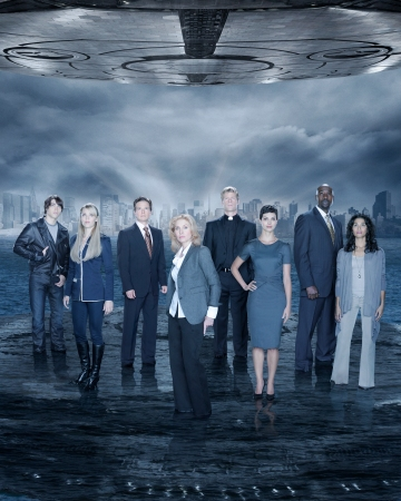 "V - ABC's ""V"" stars Logan Huffman as Tyler Evans, Laura Vandervoort as Lisa, Scott Wolf as Chad Decker, Elizabeth Mitchell as Erica Evans, Joel Gretsch as Father Jack, Morena Baccarin as Anna, Morris Chestnut as Ryan Nichols and Lourdes Benedicto as Valerie. (ABC/BOB D'AMICO)"