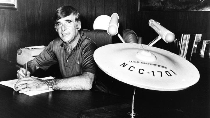 Gene Roddenberry with USS Enterprise