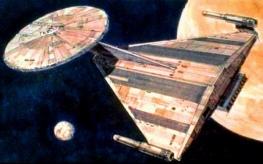 Concept art for the USS Enterprise - Star Trek: Planet of the Titans/Star Trek: Phase II - Ralph McQuarrie. Image 3.