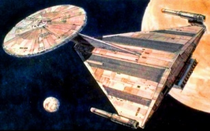 Concept art for the USS Enterprise - Star Trek: Planet of the Titans/Star Trek: Phase II - Ralph McQuarrie. Image 3.