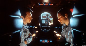 Gary Lockwood talks to Keir Dullea in a scene from the film '2001: A Space Odyssey', 1968. (Photo by Metro-Goldwyn-Mayer/Getty Images)