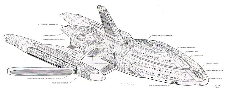 Rick Sternbach Early Design of the USS Voyager