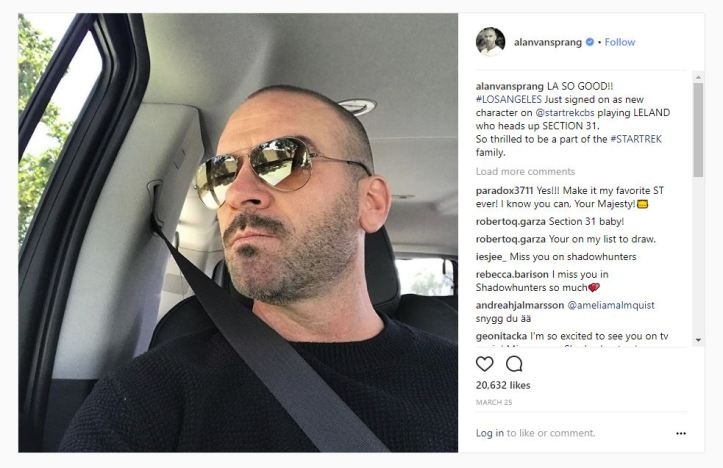 Alan Van Sprang Instagram Post