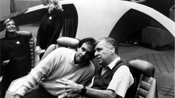 Gene Roddenberry with Rick Berman on the set of STTNG