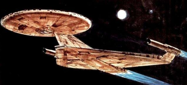 Concept art for the USS Enterprise - Star Trek: Planet of the Titans/Star Trek: Phase II - Ralph McQuarrie. Image 1.