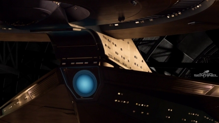 The neck and deflector dish of the USS Discovery.