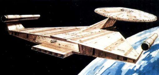Concept art for the USS Enterprise - Star Trek: Planet of the Titans/Star Trek: Phase II - Ralph McQuarrie. Image 2.