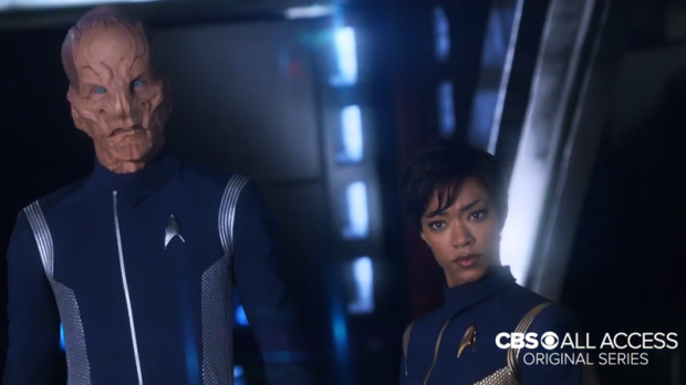 Lieutenant Saru and Lieutenant Commander Burnham