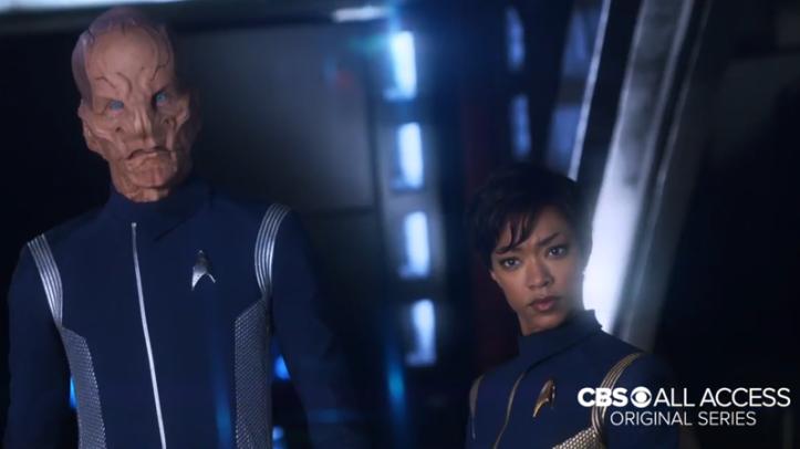 Lieutenant Saru and Lieutenant Commander Burnham