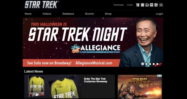 Star Trek Official Site Screenshot