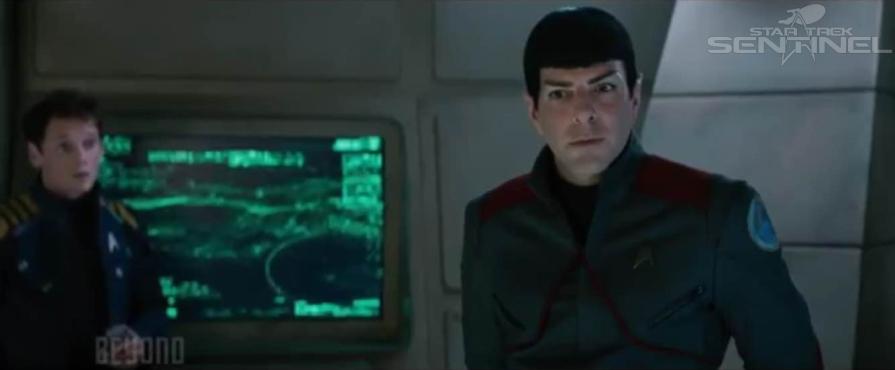 Checkov and Spock on the USS Franklin.
