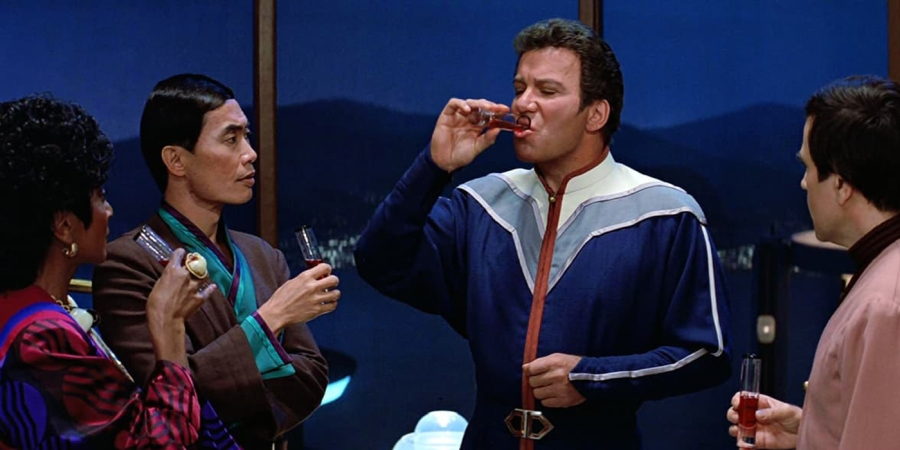Kirk toasts Spock and the Enterprise in Star Trek III The Search for Spock