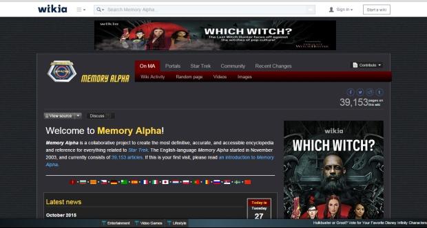 Memory Alpha Screenshot