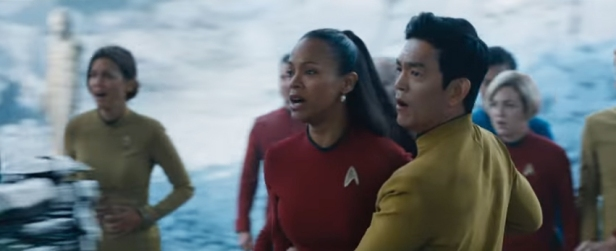 Uhura and Sulu react to Krall's atrocities on Altamid.