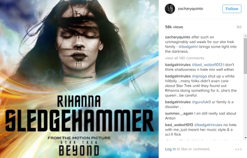 Zachary Quinto Instagram - Rihanna