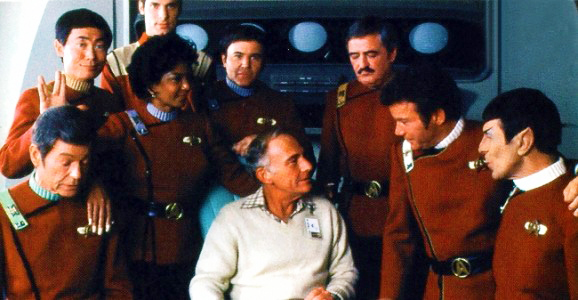 Harve Bennett and the crew of the Enterprise 1